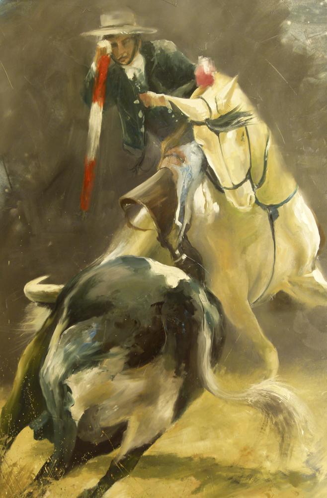 A caballo. 120 x 80 cm. Óleo sobre lienzo.