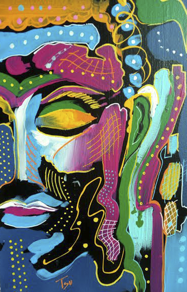 Buda. Acrílico lienzo. 120 x 80 cm
