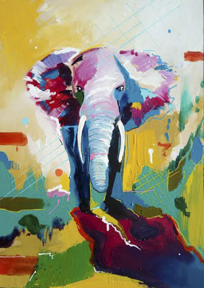 Elefante. Acrílico lienzo. 120 x 80 cm