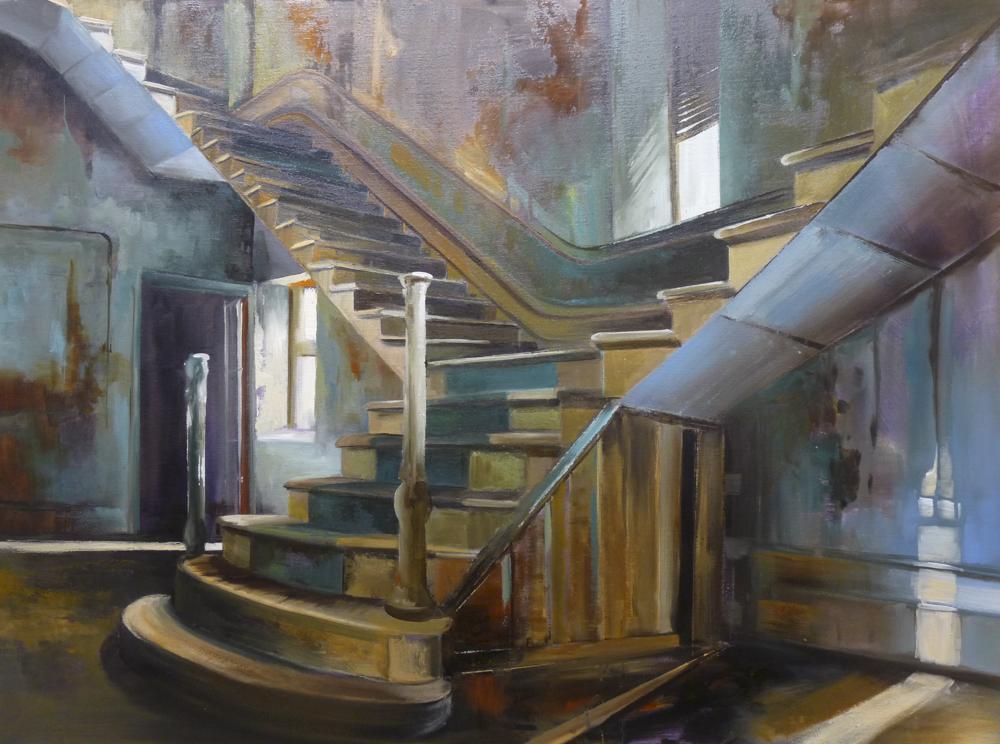Escaleras adentro. Óleo sobre lienzo. 100 x 81cm