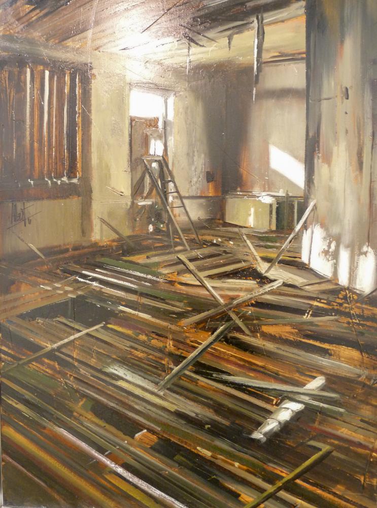 Interior derruido II. Óleo sobre lienzo. 100 x 81cm.