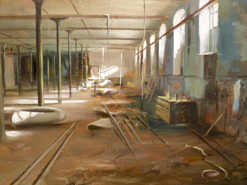 Interior derruido. 150 x 90 cm. Óleo sobre lienzo