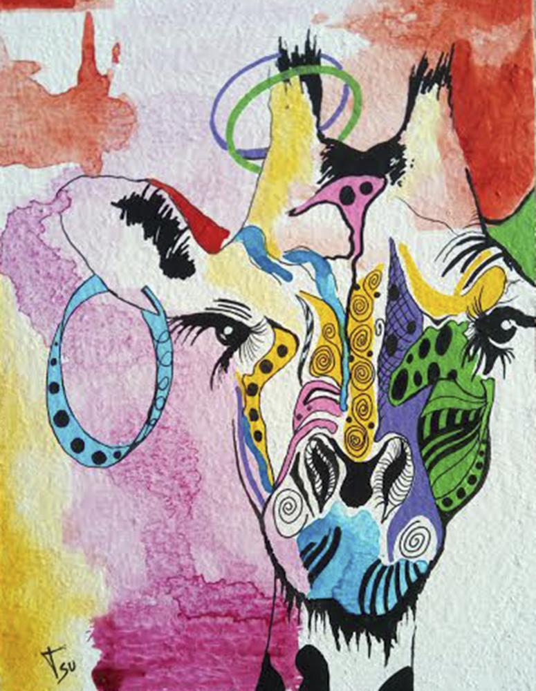 Jirafa. 100 x 70 cm. Acrílico sobre lienzo