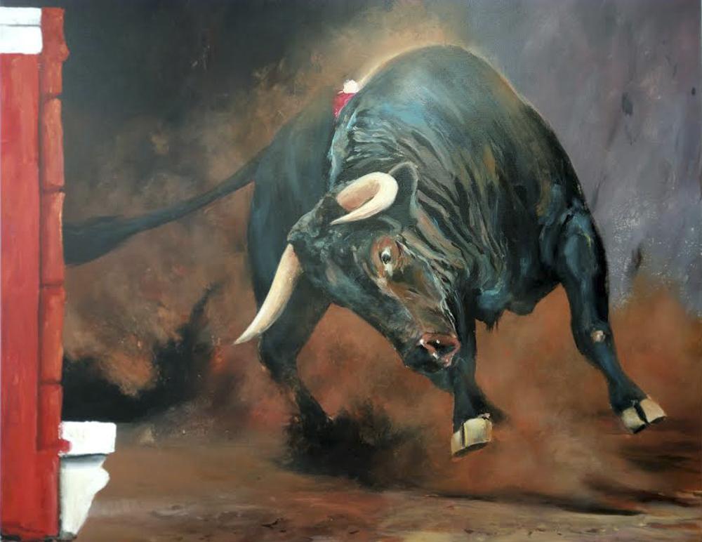 Toro II. Acrílico sobre lienzo. 100 x 81 cm.