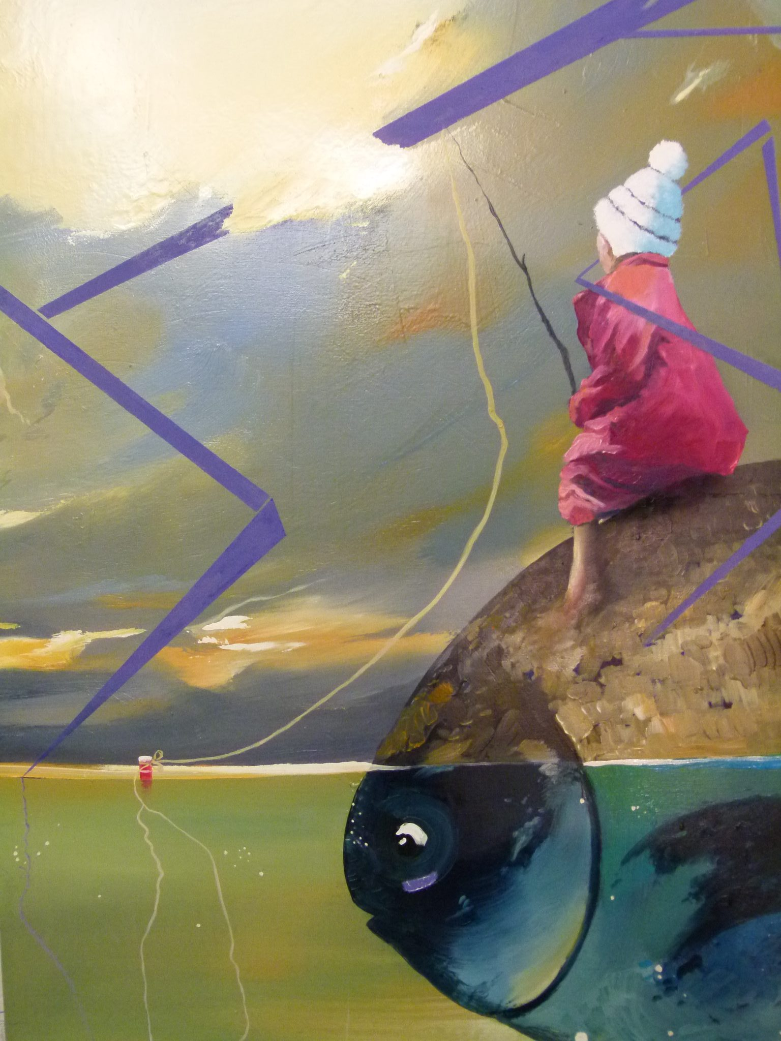 Albert Sesma - De pesca 120 x 60cm oleo tabla 500€