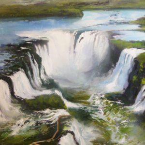 Albert Sesma - Cataratas de Iguazu 100x8. Oleo lienzo 1000€