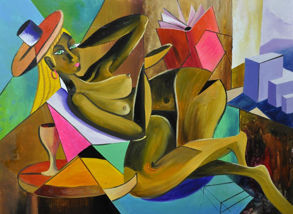 Albert Sesma - Descanso dominical oleo tabla 60 x 80 cm - 400€
