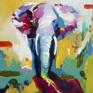 Albert Sesma - Elefante. Acrilico lienzo. 120 x 80cm 600€