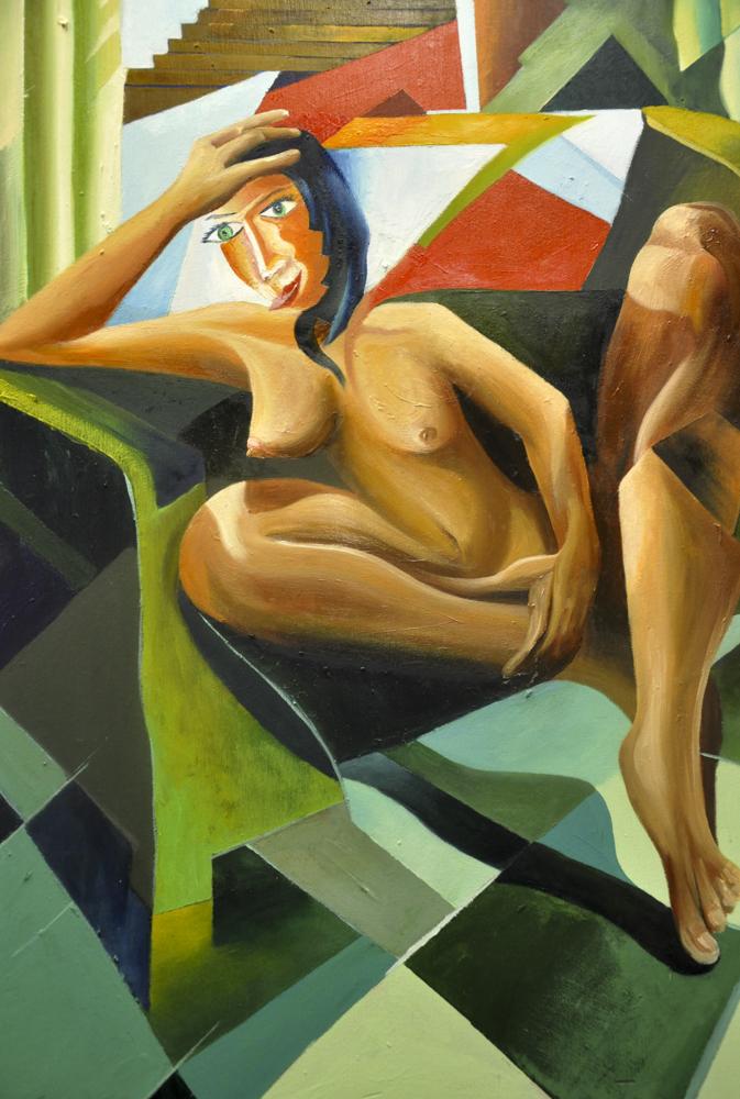 Albert Sesma - Esperando en silencio 80x60 oleo tabla