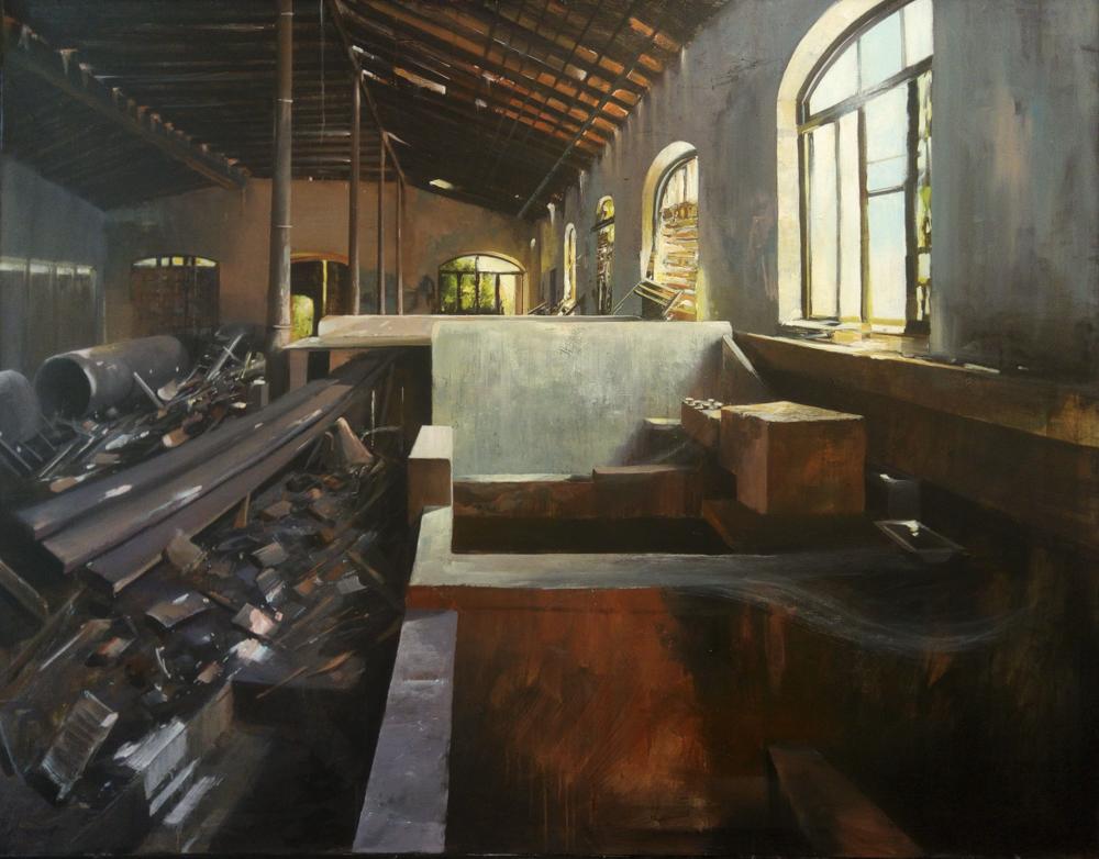 Albert Sesma - Fabrica derruida. 180 x 120cm. Acrilico lienzo. 1.900€