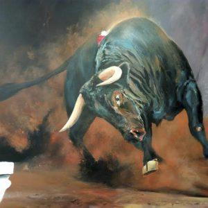 Albert Sesma - Toro II. Acrilico lienzo. 100 x 81cm 1600€