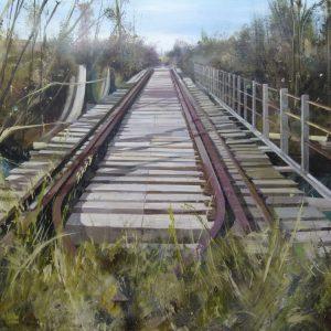 Albert Sesma - Vias de tren. 130 x 80 cm. Acrilico Tabla. 700€